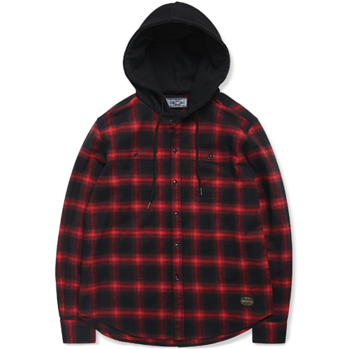 M#0887 basic form hoodie shirt (red/black)