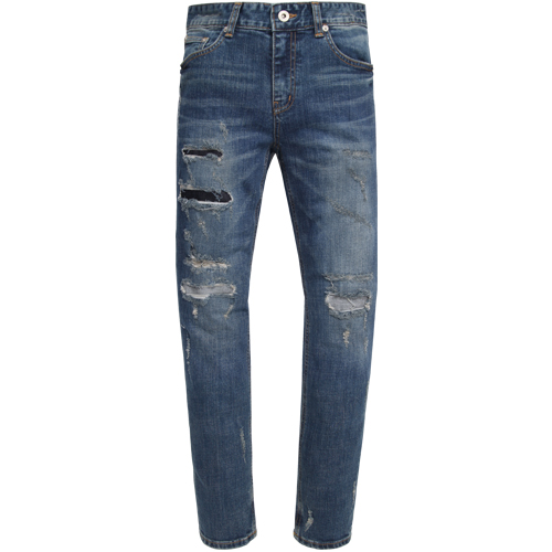 M#0923 crush repaired crop jeans