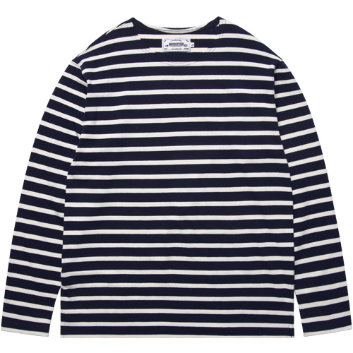 M#1010 boatneck stripe t-shirt (navy/white)