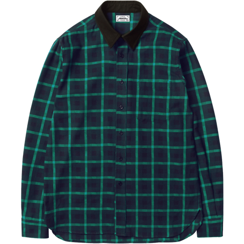 M#1048 modified block check shirt (green)