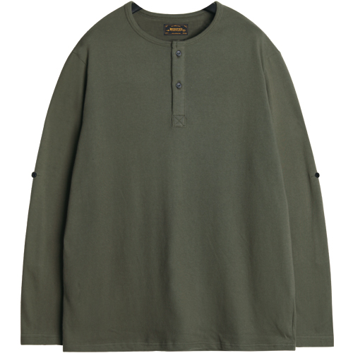 M#1069 roll-up henry neck tee (khaki)