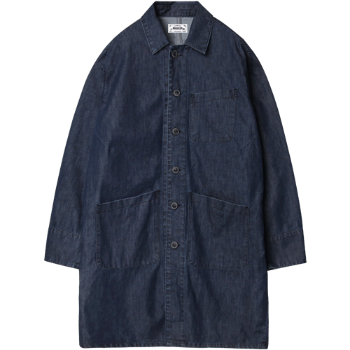 M#1208 modified new shop coat (indigo)