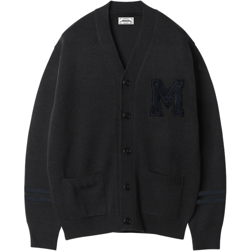 M#1211 modified M logo cardigan (black)