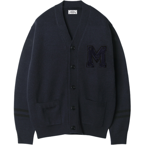 M#1212 modified M logo cardigan (navy)