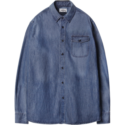 M#1219 one pocket washed shirt (indigo)
