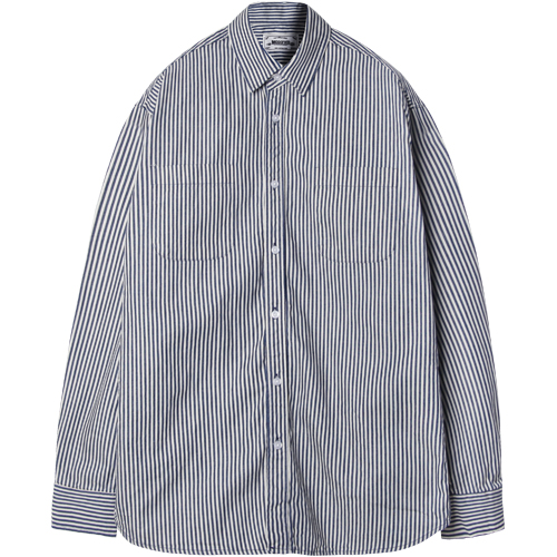 M#1233 basic form 2 pocket shirt (stripe)