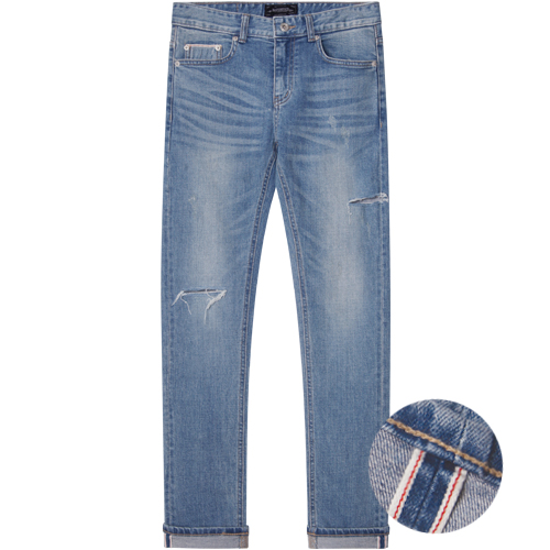 M#1283 cutted selvedge washed jeans