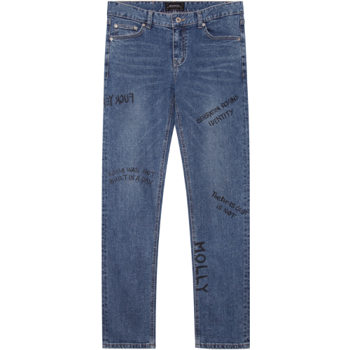 M#1368 handwriting washed jeans
