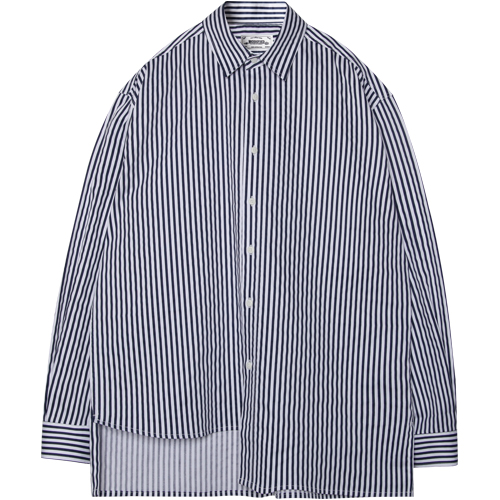 M#1370 unbalance stripe shirt (navy)