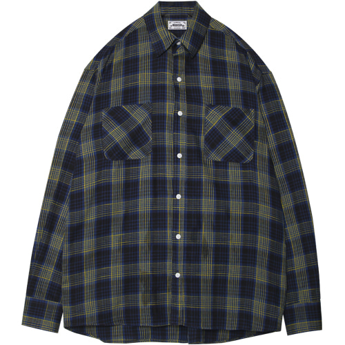 M#1392 blue&yellow line check shirt