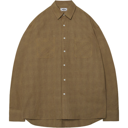 M#1399 solid box check shirt (mustard)