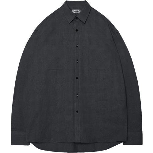 M#1400 solid box check shirt (black)
