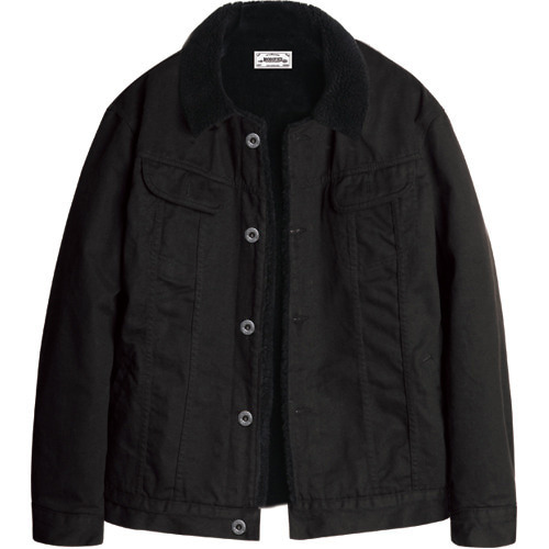 M#1074 new sherpa trucker jacket (black)