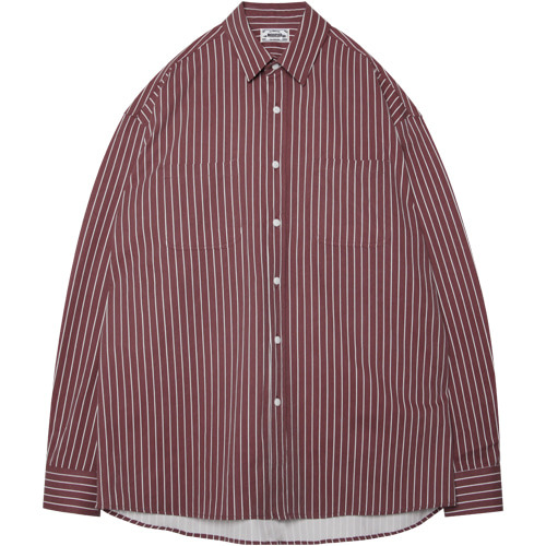 M#1384 burgundy stripe shirt