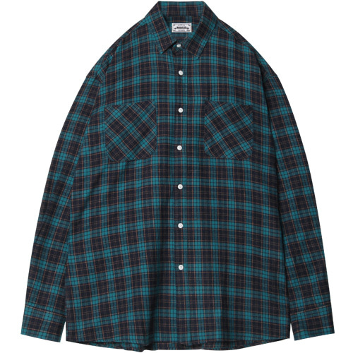 M#1396 fabulous check shirt (bluish green)