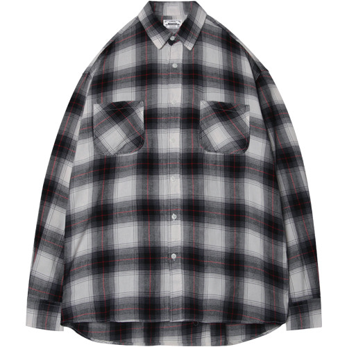 M#1402 white cross check shirt