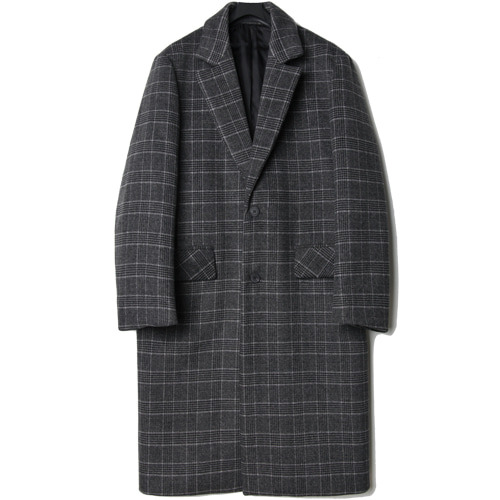 M#1447 wool check long coat