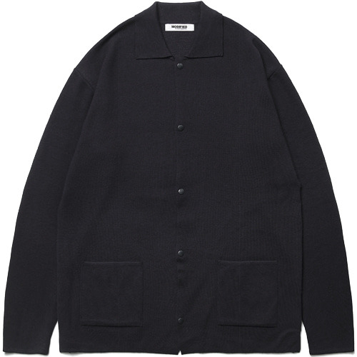 M#1480 collar knit cardigan (black)
