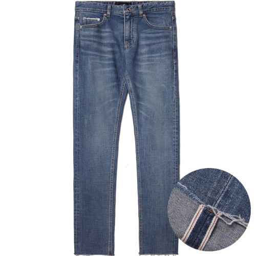 M#1491 cutted blue selvedge crop jeans
