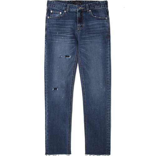 M#1495 two-destroy cutted crop jeans