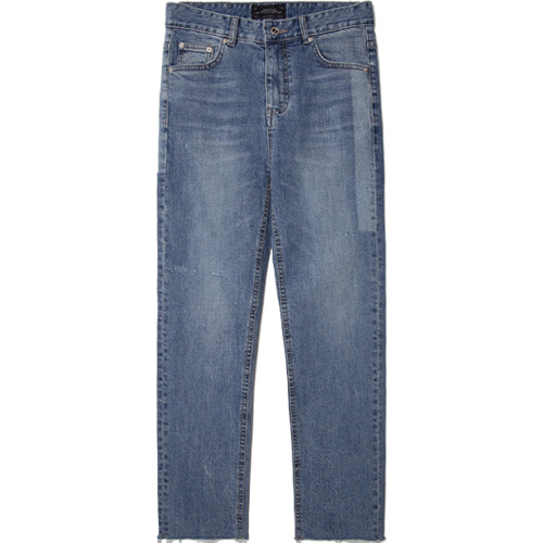 M#1498 line blue cutted crop jeans