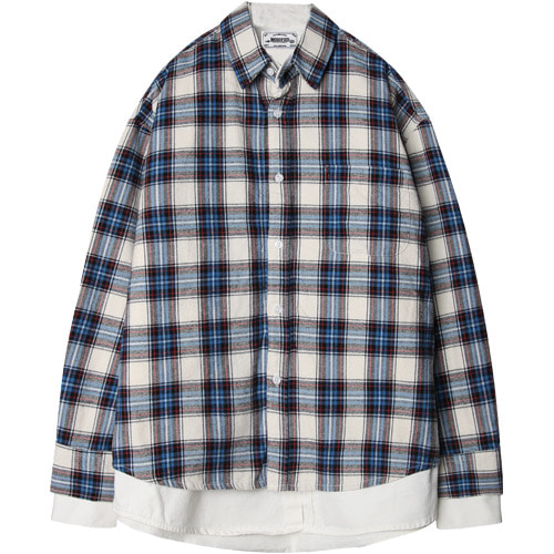 M#1500 layered double shirt (check)