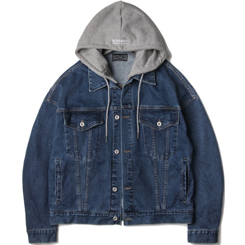 M#1518 over 2way detachable hood jacket (indigo)