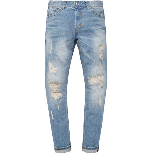 M#0580 9/10 length distressed jeans