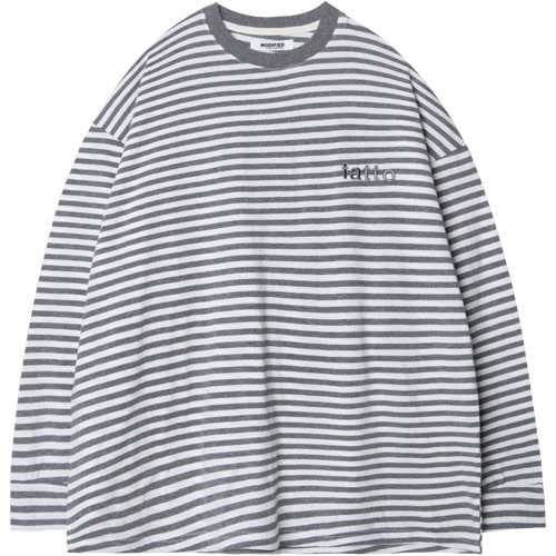 M#1525 irregular stripe tee (grey)