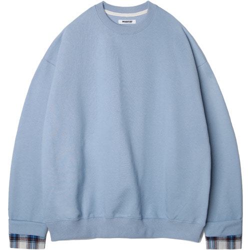 M#1528 check cuffs skyblue sweat shirt (skyblue)