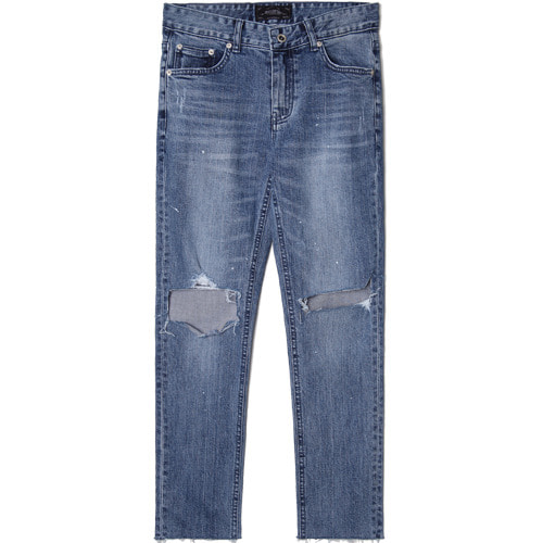 M#1532 knife cutted slim crop jeans