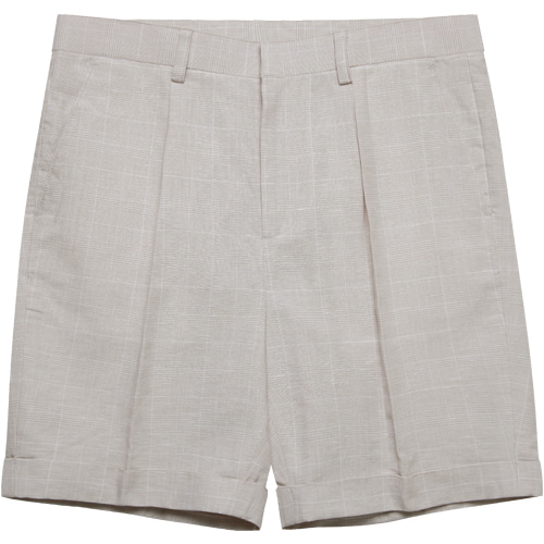 M#1572 linen glen check shorts (check iv)
