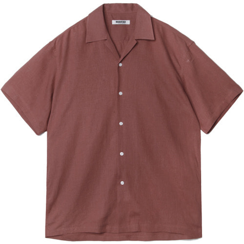 M#1573 tencel linen open shirt (brick)