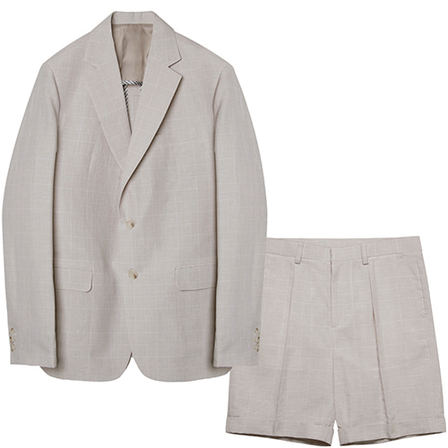 M#1582 set-up suit (check ivory)