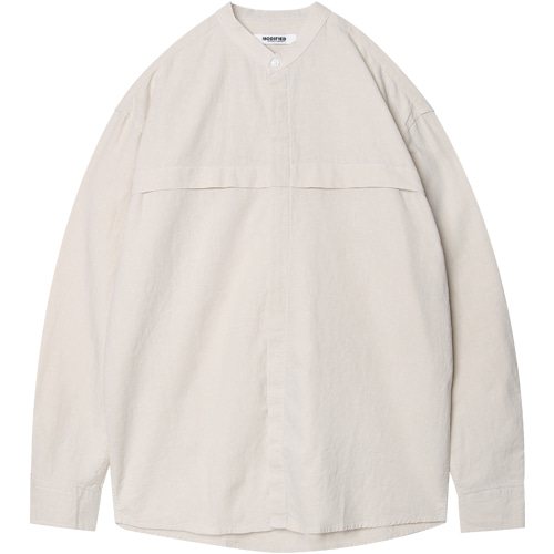 M#1585 stand collor linen shirts (ivory)