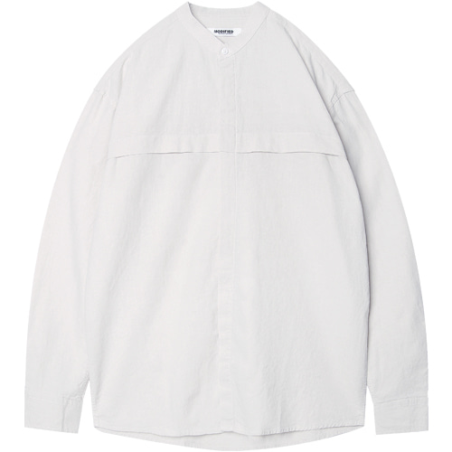 M#1586 stand collor linen shirts (white)