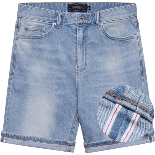 M#1591 clean blue selvedge washed short