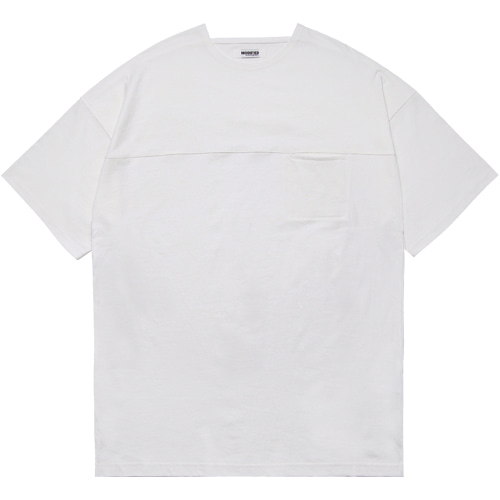 M#1592 line pocket boat neck tee (white)