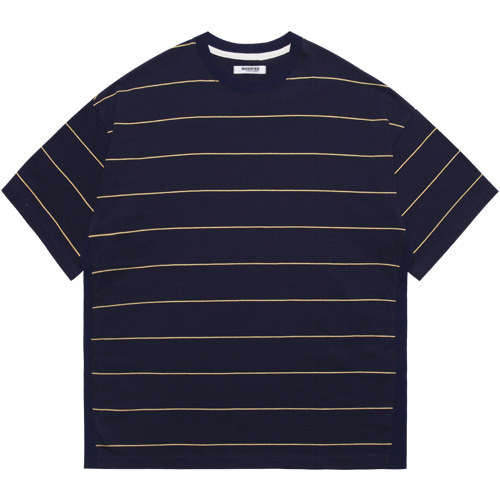 M#1607 body rib stripe tee (navy)