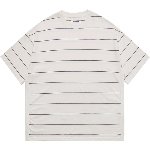 M#1608 body rib stripe tee (ivory)