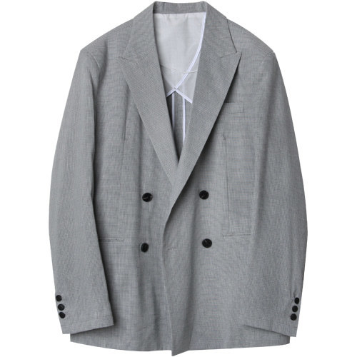M#1611 h check linen double blazer