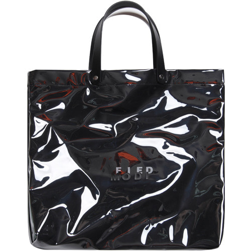 M#1619 clear pvc leather bag (leather black)