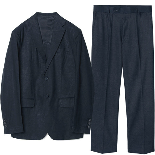 M#1622 linen solid set-up suit (navy)