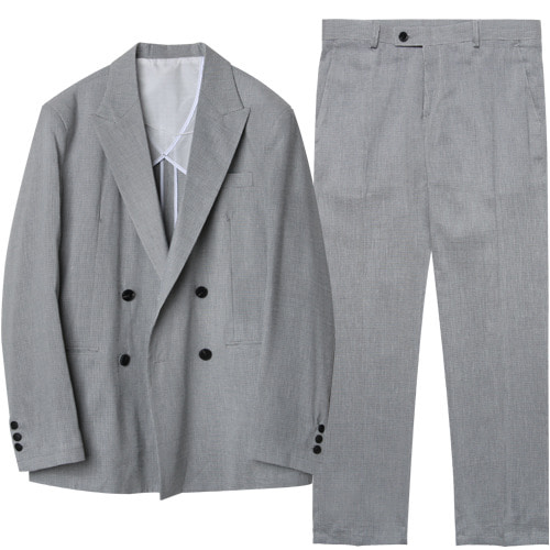 M#1623 h check linen set up suit (hound tooth)