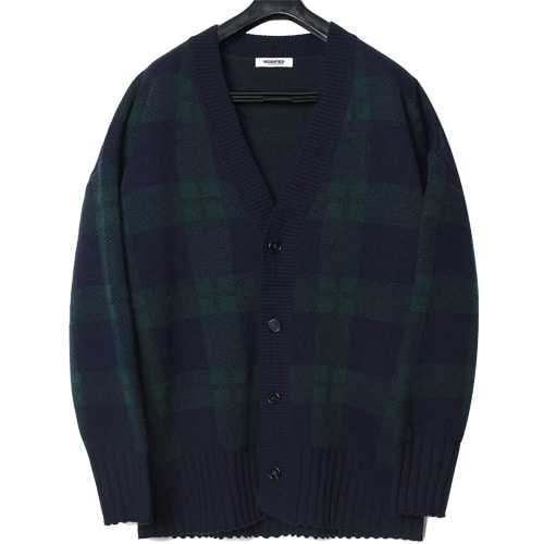 M#1651 850g heavy wool cardigan (check)