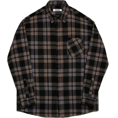 M#1636 softcotton brown check shirt (brown)